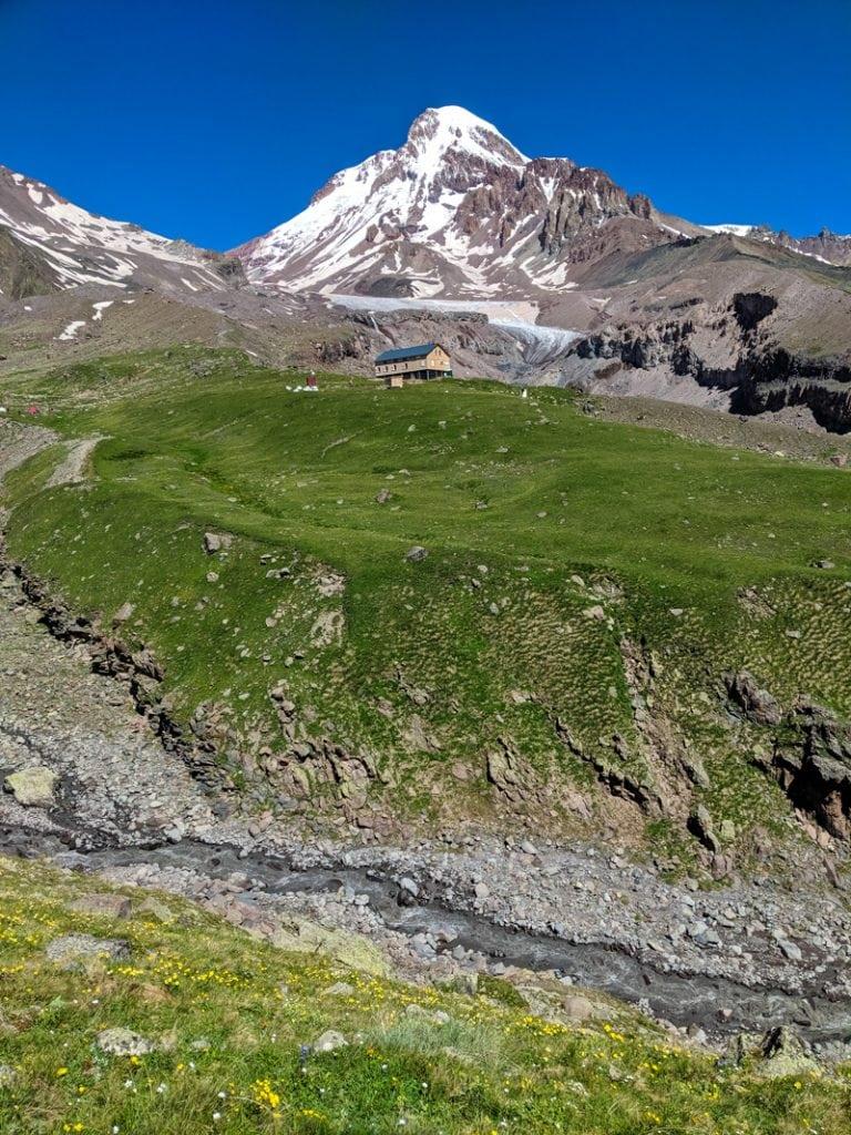 Mt Kazbek and Bethlemi Hut, Kazbegi, Georgia