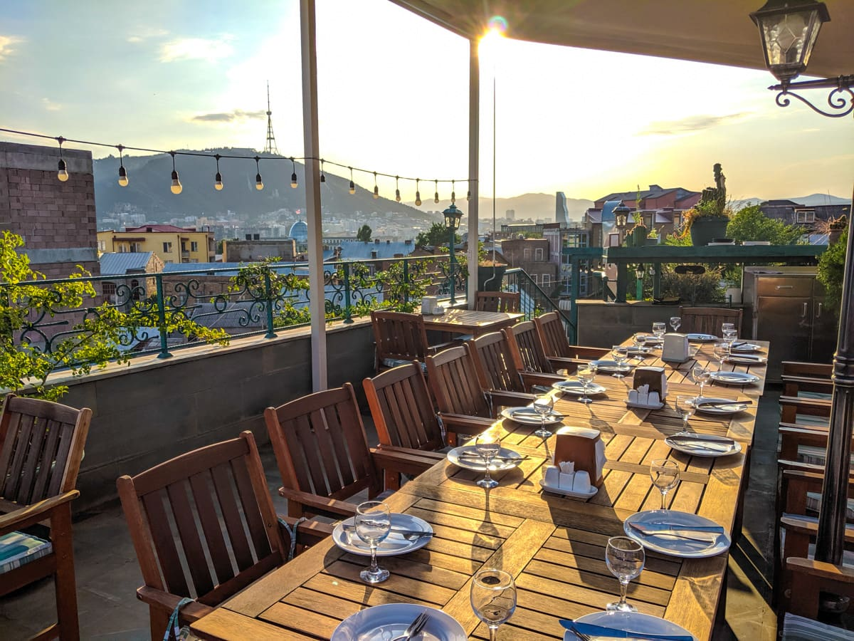 Image of Saamo restaurant rooftop evening dinner in Tbilisi