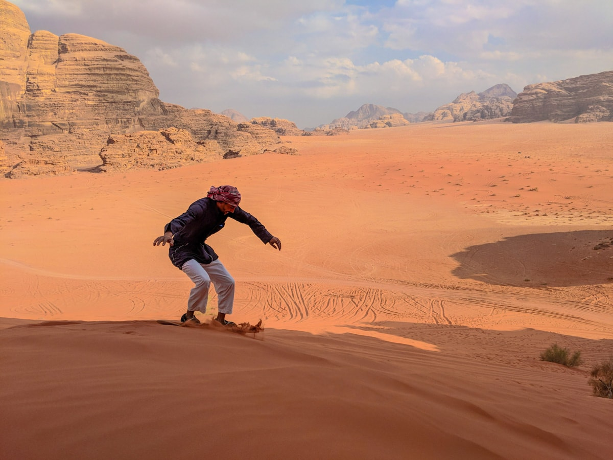 Sandboarding Bedouin guide
