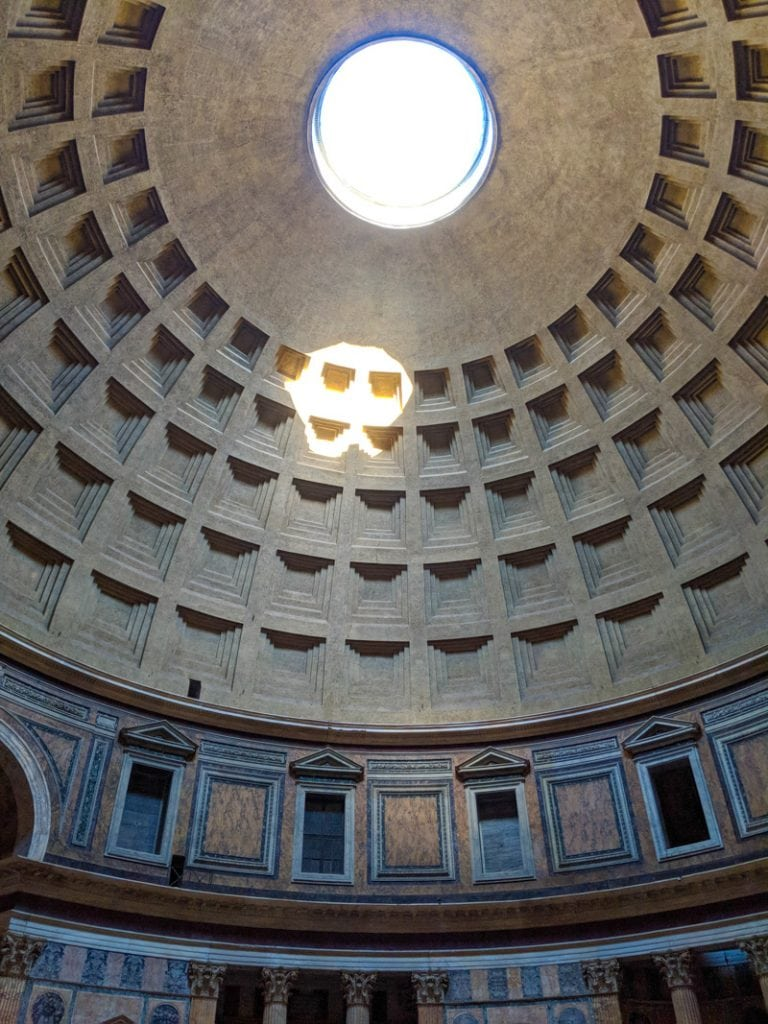 The roof of the interior of the Pantheon of Rome