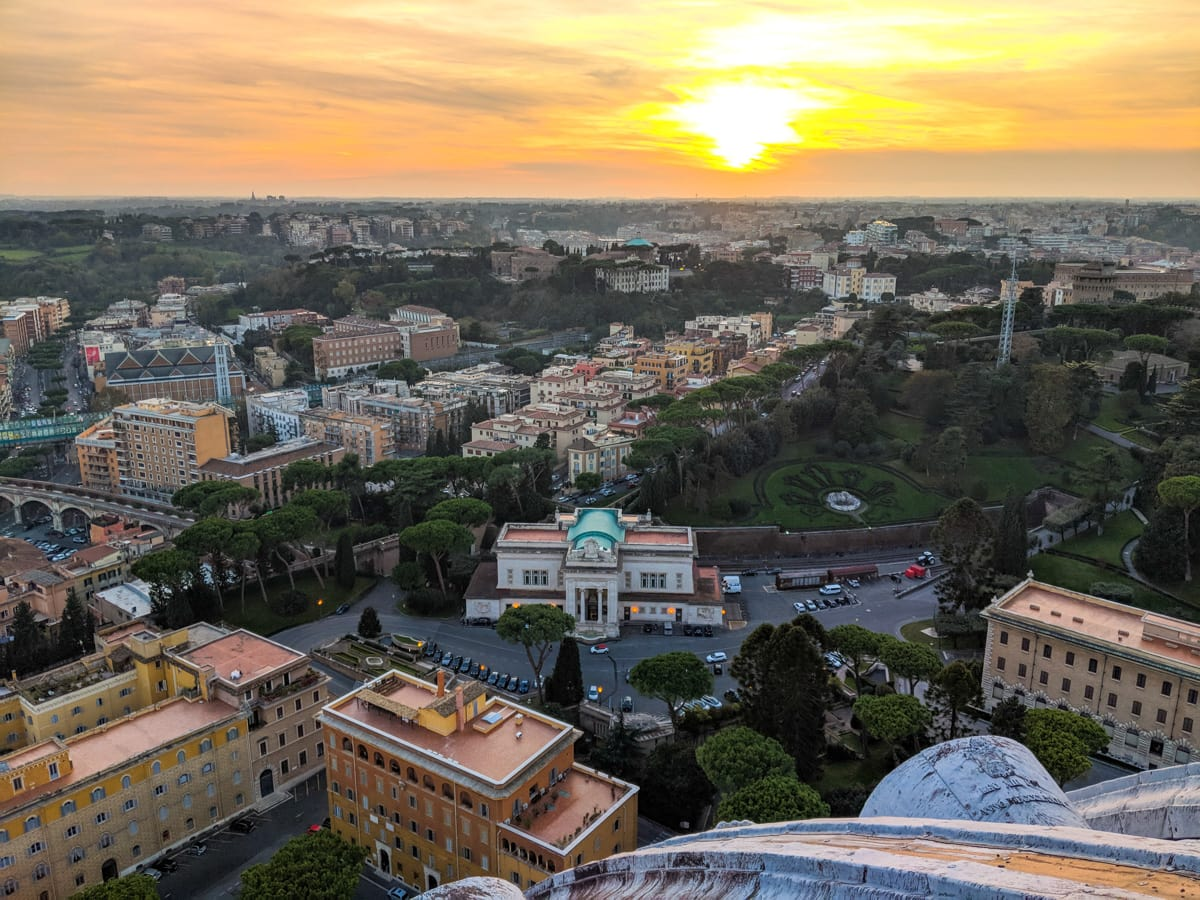 A view of Rome from the Dome of St Peter's Basilica in Vatican City