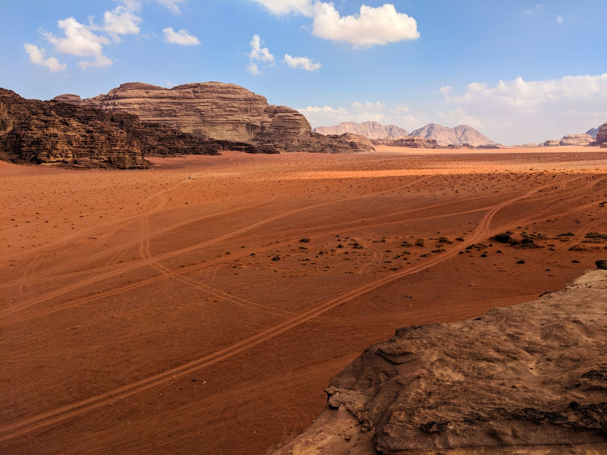 The view from a mountain in Wadi Rum