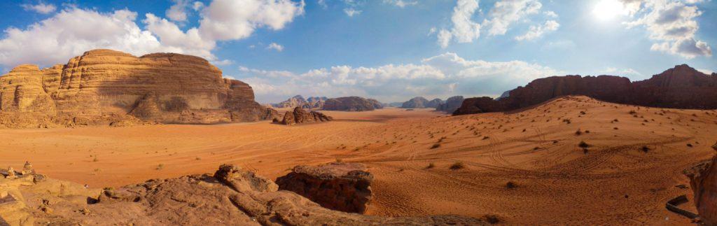 Wadi rum landscape in panorama