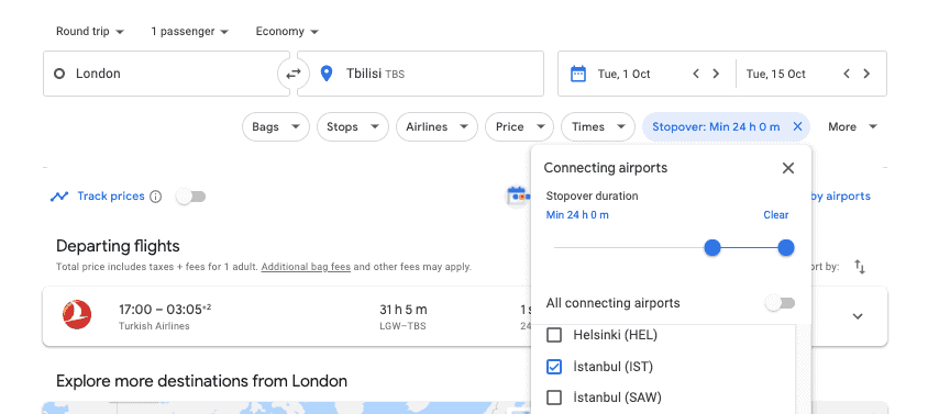 How to find flights with layovers in Google Flights