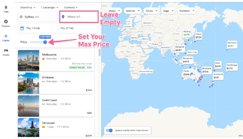 Using Google Flights To Explore