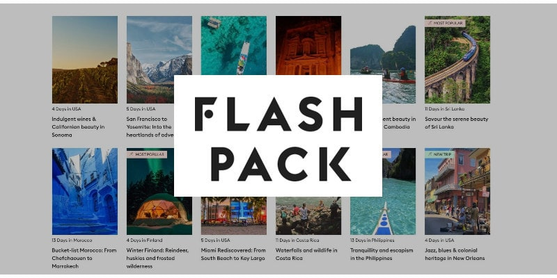 Flash Pack 2020 travel tours discount Black Friday