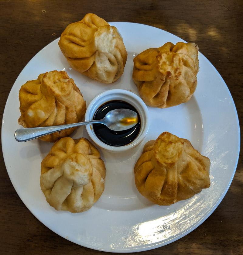 Fried khinkali dumplings