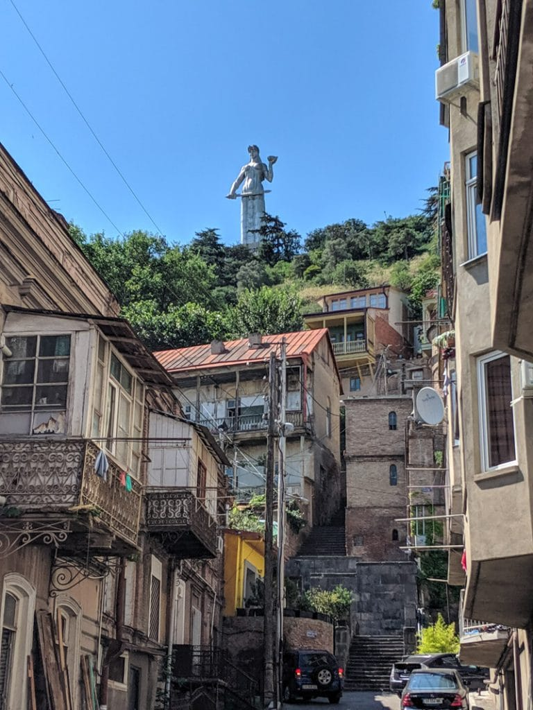 Mother of Georgia towering above Tbilisi