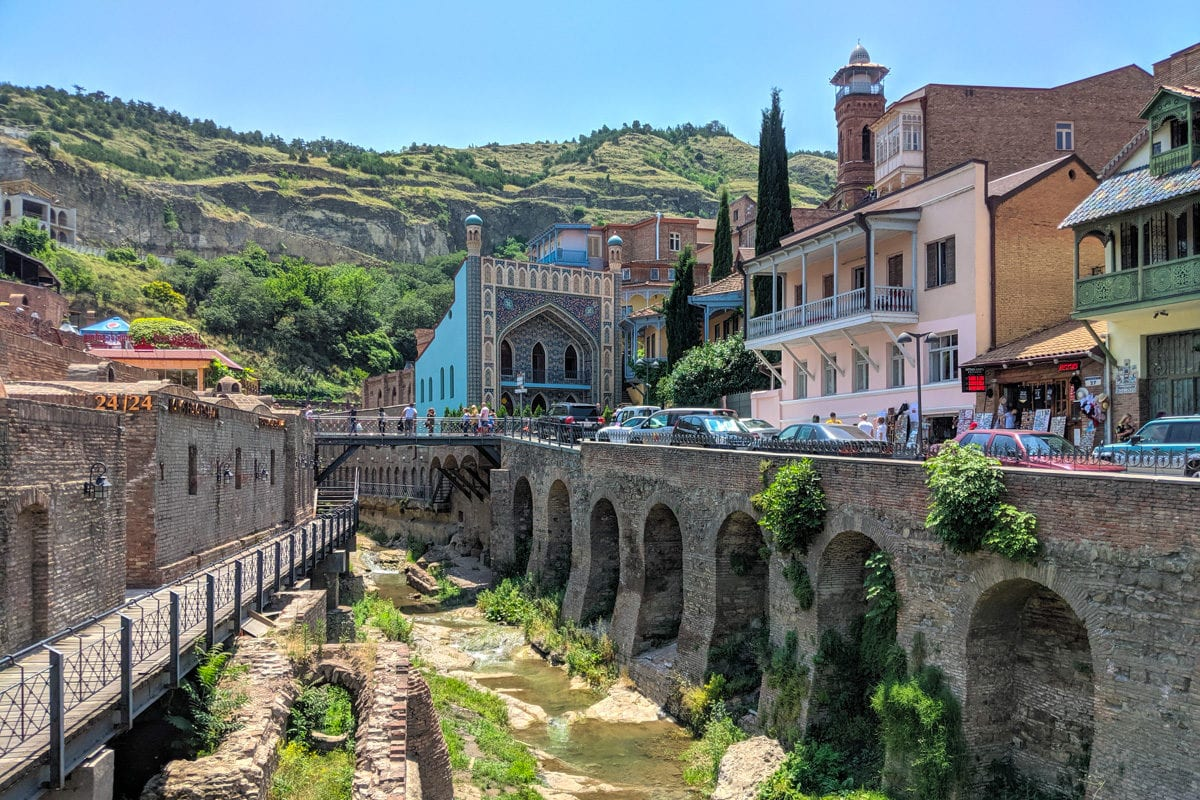Image of The old town of Tbilisi with Orbeliani baths at the end of the street.