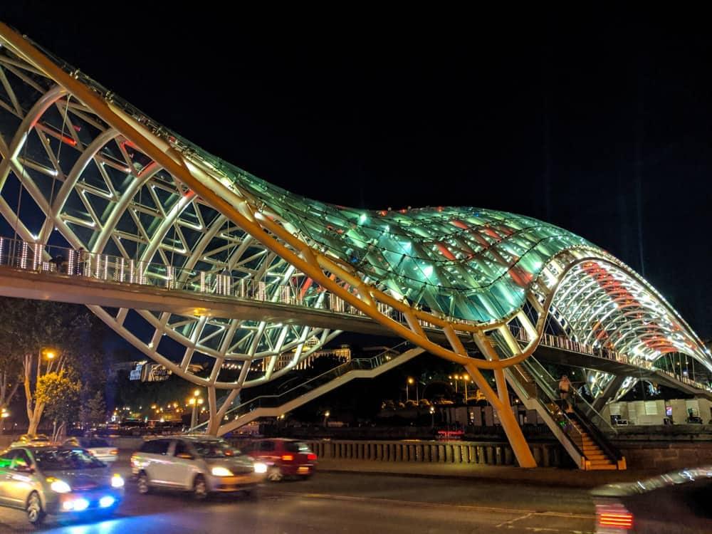 The Peace Bridge at night