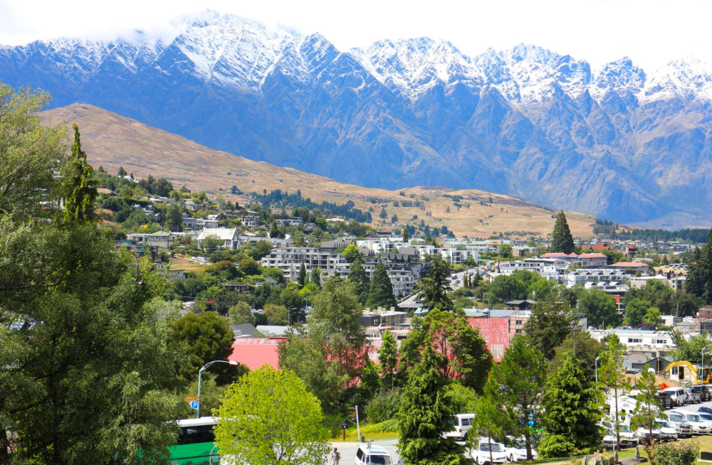 Queenstown with mountains behind
