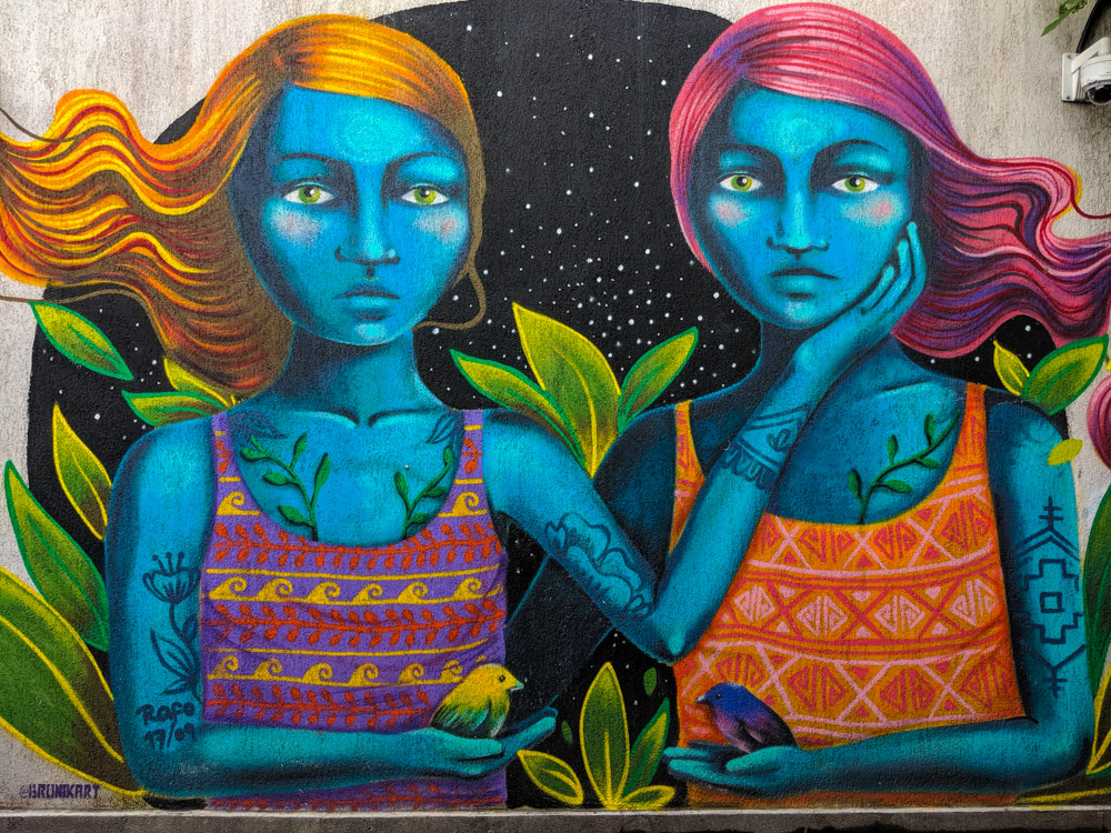street art of two girls