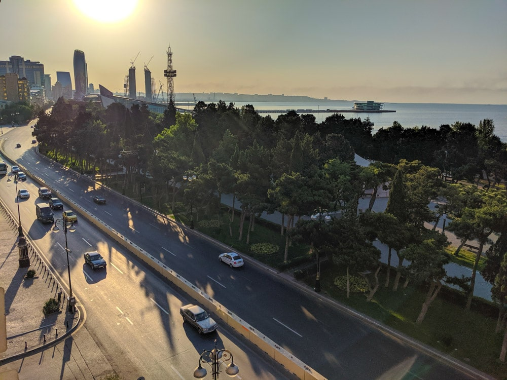 Baku Neftchilar avenue and Baku Bay