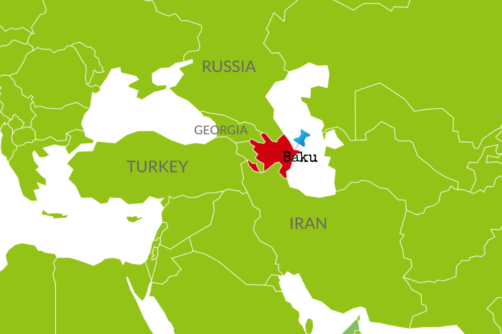baku on map of azerbaijan