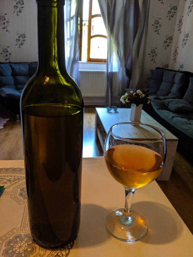 drinking homemade amber wine
