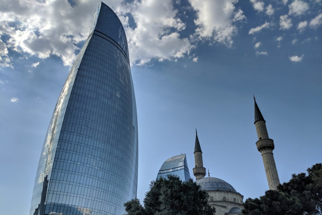 Baku flame tower and mosque