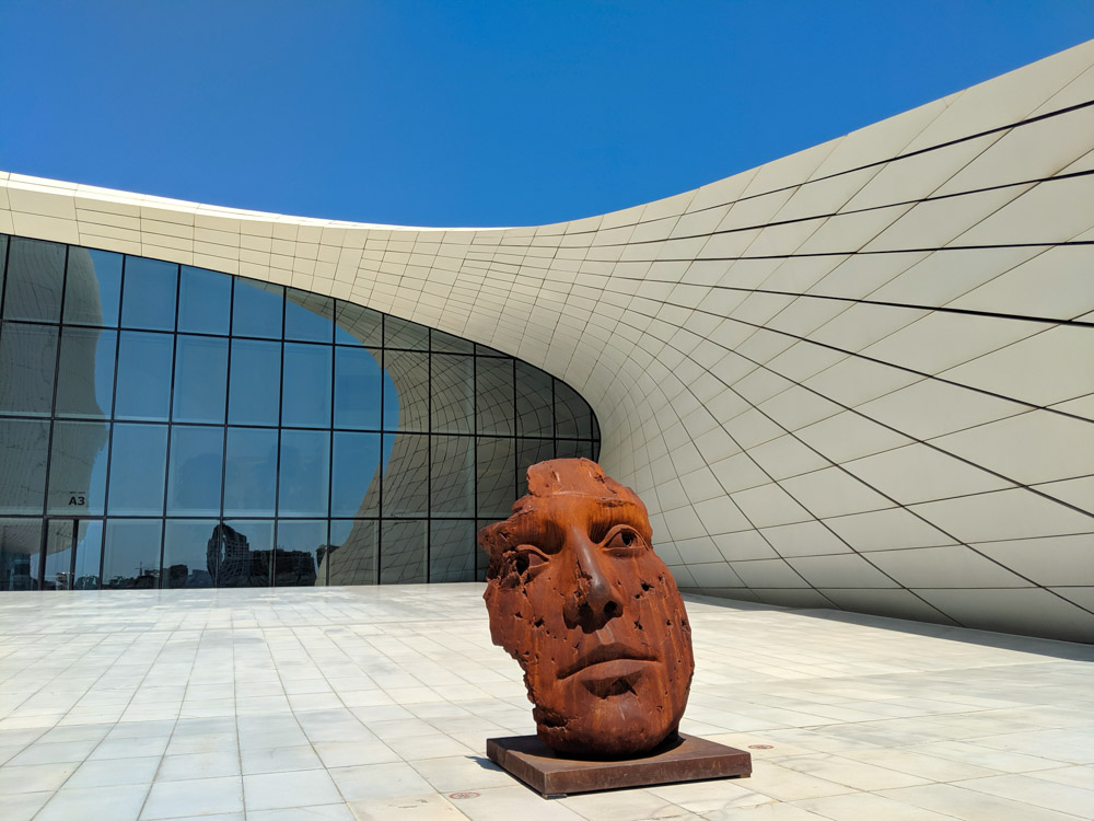 heydar aliyev center  with posters