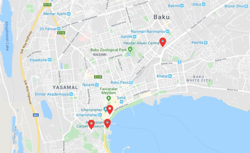 map of Baku showing important markers