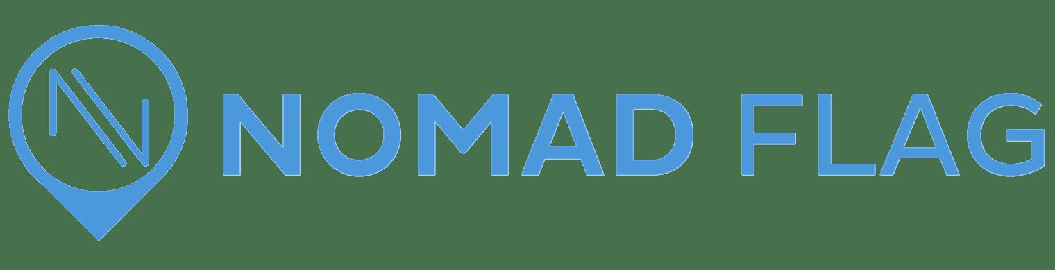 nomad flag header logo with icon travel blog
