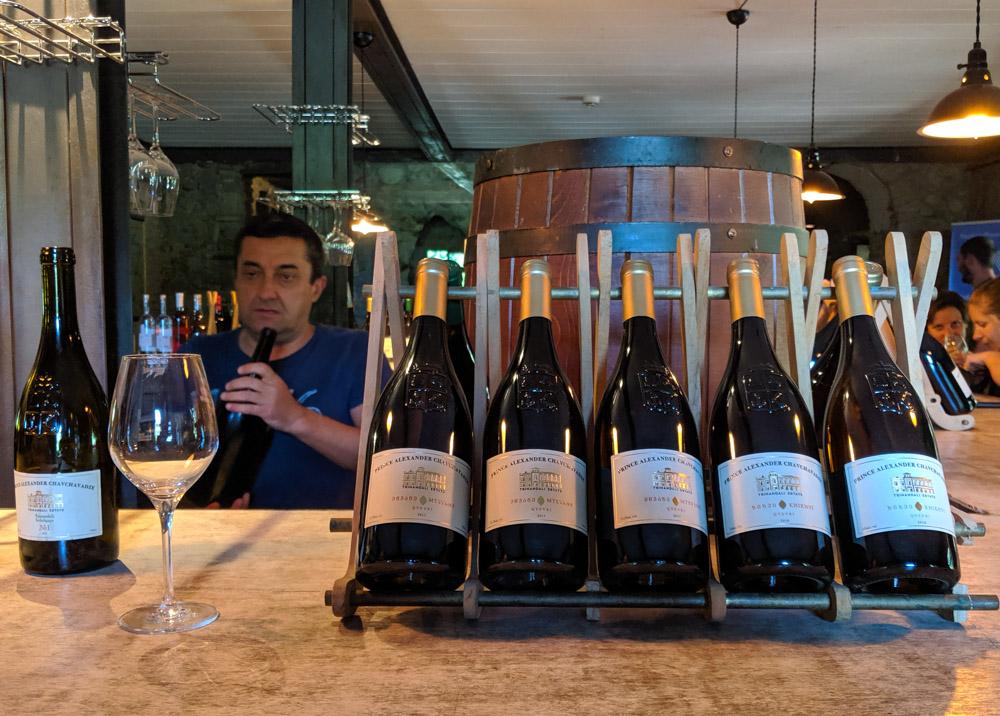 Sampling Chavchavadze Estate winery bottles