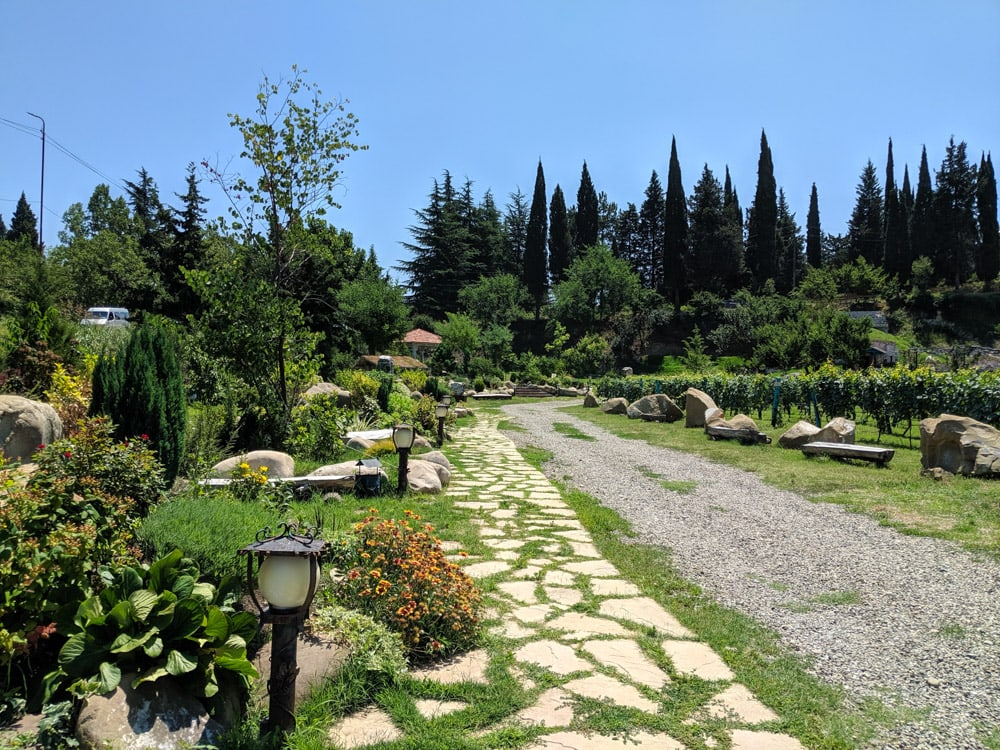 Shumi vineyards grounds with path in kakheti
